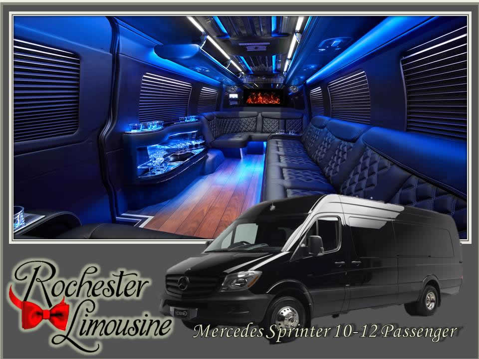 Rochester-limos-Mercedes-12-passenger-party-bus